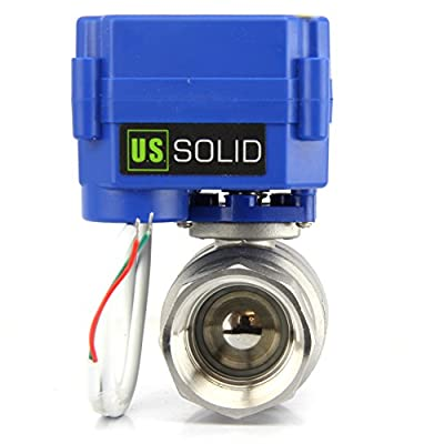 "Motorized Ball Valve- 1"" Stainless Steel Ball Valve with Full Port, 9-24V DC and 2 Wire Reverse Polarity by U.S. Solid by U.S. Solid"