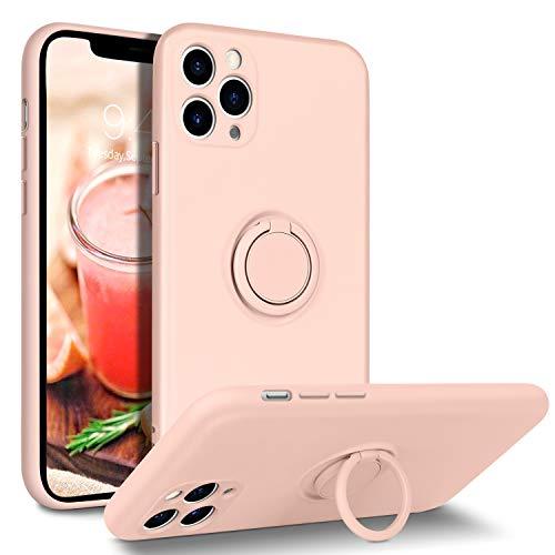 iPhone 11 Pro Hülle Silikon Case Mit Ring Halter Handschnur, BENTOBEN iPhone 11 Pro Handyhülle Slim kratzfest Flüssigsilikon Gummi mit innem Microfaser Tuch Case Cover für iPhone 11 Pro 5.8\'\' Sandrosa