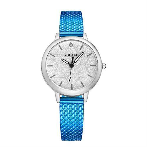 OLUYNG Reloj de Pulsera Nuevo Reloj de Mujer con Estilo Conjunto de Temperamento Diamante Cien Set Reloj de Mujer de Cuarzo Azul