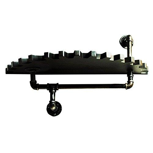 NYDZ wandplank, massief hout decoratie opslag rack oude smeedijzeren Display Stand
