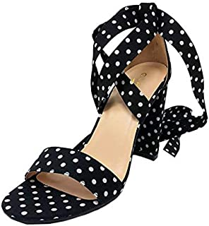 Suede Ankle Leg Strappy Wrap Chunky Women's Classic Comfortable Design High Heel Sandals Shoes