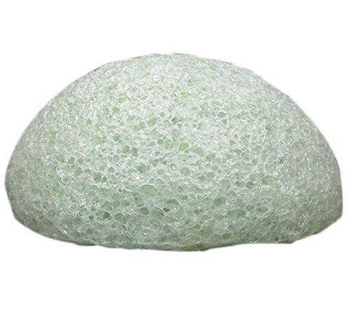 DaoRier 1 Pcs Konjac Eponge Visage Naturelle pour l'Exfoliation Naturelle et Le Nettoyage Profond des Pores Forme Hémisphère Convient pour Tous Les Types de Peau (Vert)