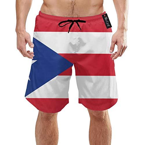 Ye Hua Puerto Rico Flag Herren Badehose Sommer Coole Quick Dry Boardshorts Badeanzug mit Seitentaschen Mesh Futter XXL