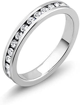 NYC favorite Jewelers Stainless Steel Cubic Manufacturer OFFicial shop Rin CZ Band Eternity Zirconia