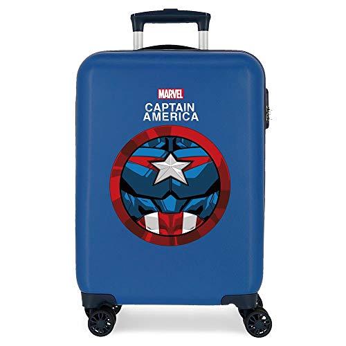 Marvel Los Vengadores Avengers Captain America Maleta de Cabina Azul 38x55x20 cms Rígida ABS Cierre de combinación Lateral 34L 2,66 kgs 4 Ruedas Dobles Equipaje de Mano