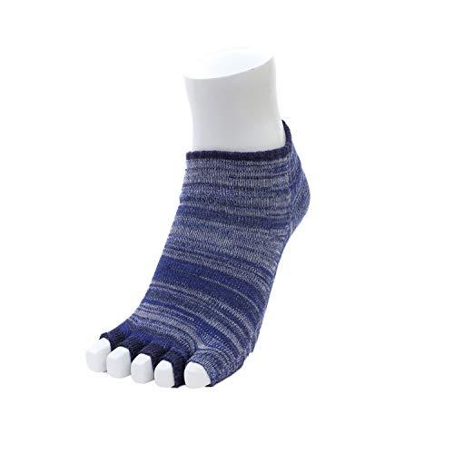 カラビサソックス アンクルタイプ 5本指ソックス KARABISA SOCKS 指先なし サンダル 冷え性 蒸れない 水虫 靴擦れ防止 (S(22cm-25cm), ジンベイザメインディゴ)