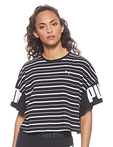 PUMA Damen T-Shirt Rebel Striped, Puma Black, S, 580663