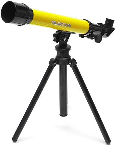 AQWESD Teleskop 20X 40X 60X Astronomische Teleskopokulare mit Stativ für Kinder Anfänger Gelb HD Einstellbare Nachtsicht