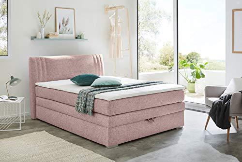 lifestyle4living Boxspringbett 140x200 cm mit Bettkasten rosa, Stoff | Entspannt schlafen auf dem modernen Einzelbett komplett mit Kopfteil