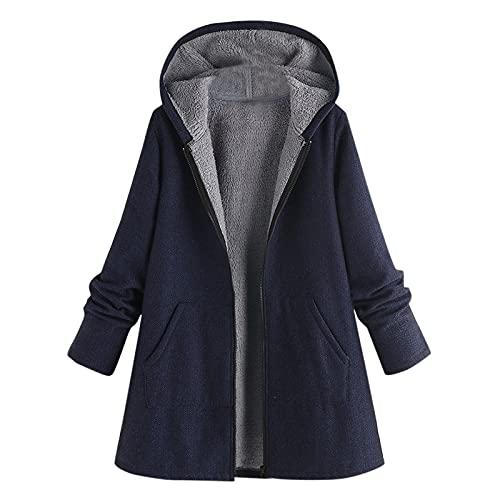 Pianshanzi Manteau d'hiver pour femme - Grande taille - Parka - Vintage - Couleur - Motif - Trench coat - Durable - Veste d'extérieur - Décontractée et élégante, Marine, M