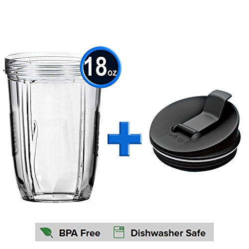 18 oz Cup and Sip & Seal Lids for Nutri Ninja Blender , YOHO Replacement Parts for Nutri Ninja Auto-iQ 1000W Serie