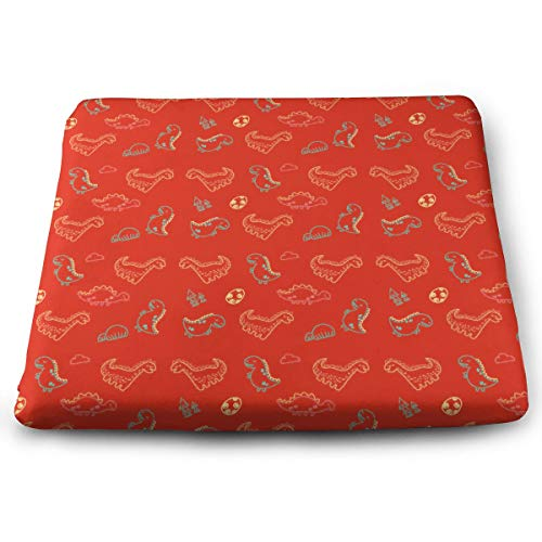 Lfhytd Dinosaur Figure Square Cotton Seat Cushion with Invisible Zipper Popular Handicrafts Pillow Dog-Pets Bed Comforts Washable Cushion Office Chair Car Wheelchair Sitting Anti-Slip Pillow