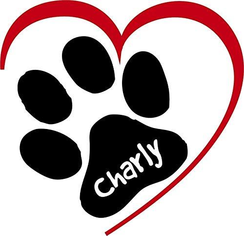 ***NEU*** Folienaufkleber/Sticker/Wandtattoo - Hunde Pfote mit Herz und Ihrem Wunschtext, Größen u. Farbauswahl