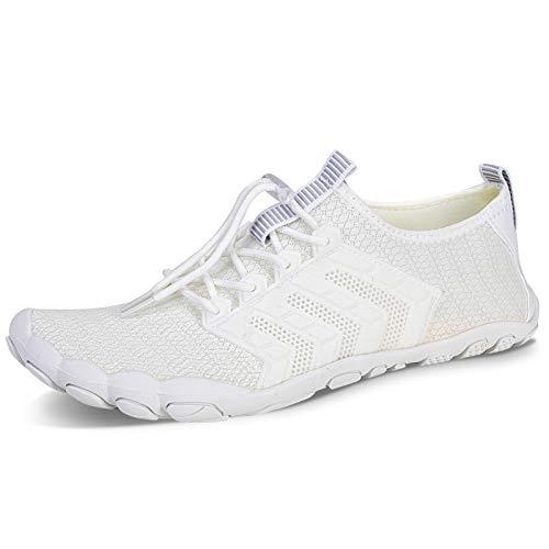 Men Women Water Shoes Quick Dry Adult Beach Swim Barefoot Lightweight Aqua Shoes for Swim Surf Exercise (ZB3015 White, 6.5UK)