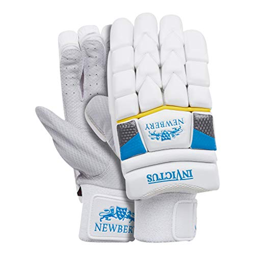 Newbery Cricket Invictus Batting Gloves, White/Blue, Senior
