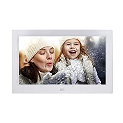 10 inch Digital Photo Frame Digital Picture Frames with Remote Control, Photo Video MP3 Player / 4 Windows/Calendar/Alarm Clock / 5 Languages Electronic Picture Photo Frame for Desk Wall