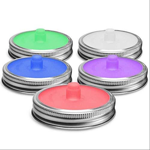 lossomly Mason Jar - Tapas de silicona para fermentación (5 unidades, con agujero para chucrut o kimchi, fáciles de usar y de limpiar