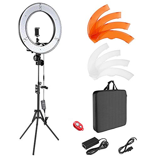 JJIIEE Anillo de luz LED, 18'5500K Luz de Anillo de Selfie Regulable con Soporte de luz de 2M Funciona con teléfono Inteligente y cámara SLR para vlogging, maquillador, camarógrafo