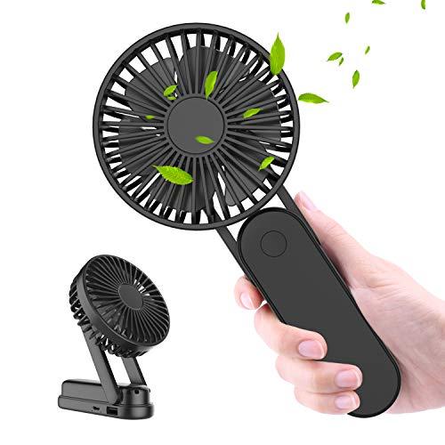 WOWGO Ventilatore Portatile, 2500mAh USB Ricaricabile Ventilatore, Pieghevole Mini Ventilatore Ventole Tavolo Silenzios da Scrivania con 3 Velocità, Collana per Viaggi Casa Esterno Ufficio