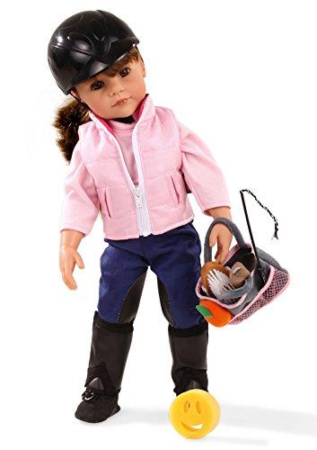 Götz 1559077 Hannah geht reiten Puppe - loves horseback riding - 50 cm große Stehpuppe, braune Haare, braune Augen - 20-teiliges Set