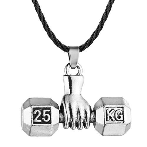 Collar con colgante de mancuerna para levantamiento de pesas para hombres