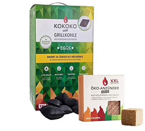 Set: KOKOKO EGGS Bio Kokos Grillbriketts in Eierform 8 kg & ÖKO-ANZÜNDWÜRFEL