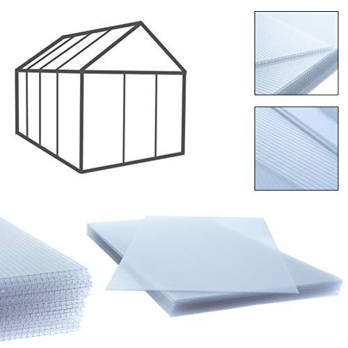 Holle kamerplaten dubbelwandige platen 14 stuks, 10,25 m2, 60,5 x 121 cm, transparante polycarbonaat platen 4 mm dik, gewicht: 700 g/m2, voetplaten, helder, broeiplaten