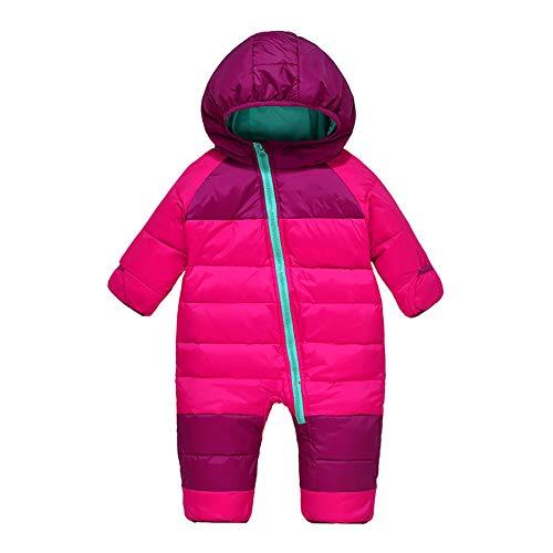 Feidoogベビーキッズダウンジャンプスーツフード付き暖かい前開き軽いスノーウェア防寒防水防風ジャンパー雪遊びファスナーカバオール冬服無地かわいいダークピンク110