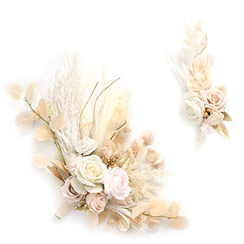 Ling's moment Artificial Flower Swag for White and Beige Wedding Ceremony Sign Floral Decoration - Pack of 2