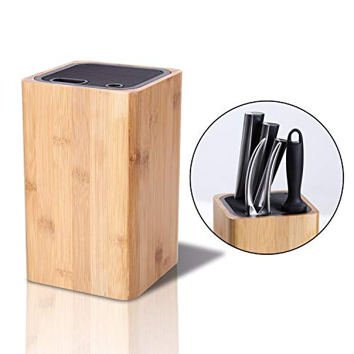 Deluxe Universal Knife Block with Slots for Scissors and Sharpening Rod  EcoFriendly Bamboo Knife Holder For Safe Space Saver Knives Storage  Unique Slot Design to Protect Blades  by KITCHENDAO