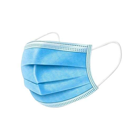 50 Unidades por Paquete Protectora Mascarilla_Desechable, 3 Capas no Médico_Máscara con Ganchos Elásticos y Clip Nasal Ajustable