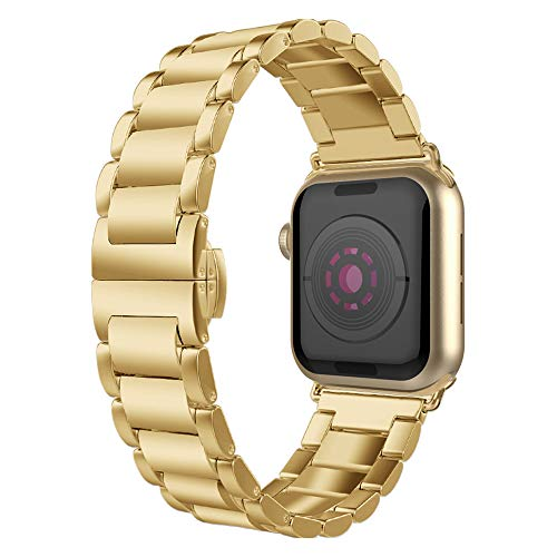 Compatible with iWatch Band 42mm/44mm, Solid Stainless Steel Metal Wristband Strap with Butterfly Folding Clasp Replacement for iWatch Series 6/5/4/SE/3/2