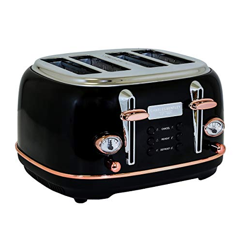 Charles Bentley 4 Slice Toaster Stainless Steel Browning Control Dial with 6 Levels Black & Rose Gold Crumb Tray Cancel Defrost Reheat Settings