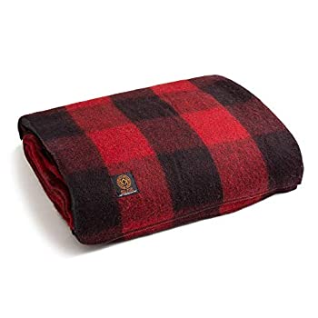 Arcturus Backwoods Wool Blanket - 4.5lbs Warm Heavy Washable Large   Great for Camping Outdoors Survival & Emergency Kits  Red Buffalo