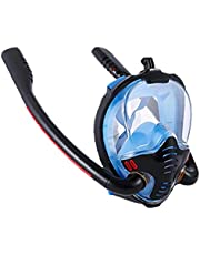 finebrand Snorkelen Gezicht Shield Full Face Double Tube Scuba Diving Silicone Gezicht Te Bedekken Anti-condens En Anti-lek Zwart Blauw L Xl Maat