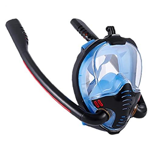 finebrand Tubo De Snorkel Careta De Protección De La Cara Llena Doble Buceo Silicón De La Cara Cubierta Anti-vaho Y Anti-Fugas Tamaño Negro Azul L XL