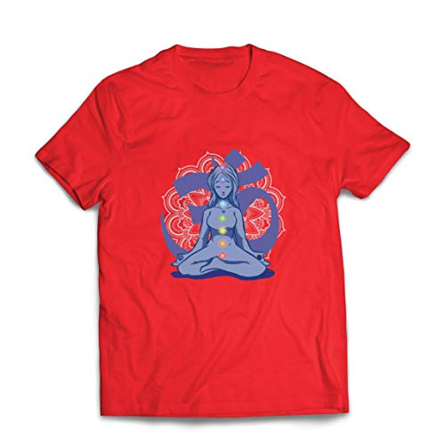 lepni.me Camisetas Hombre Yoga Meditación Namasté Asana Mandala Mente Cuerpo Alma (X-Large Rojo Multicolor)