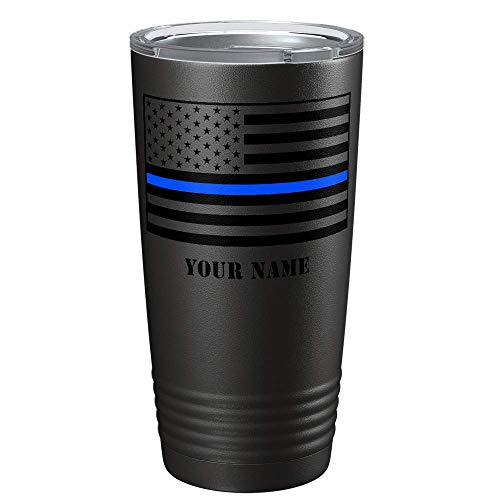 Personalized Personalized Thin Blue Line Flag Police Officer on Black 20 oz Tumbler with Lid - Law Enforcement Gift - Insulated Cup - Travel Mug