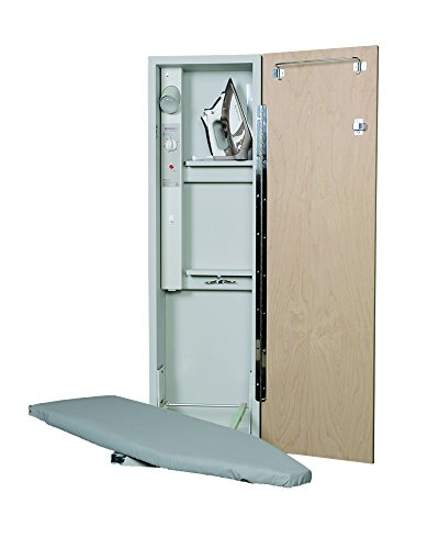 Iron-A-Way Built-In Ironing Center with 42 Inch Swiveling Ironing Board, Electrical System, Hot Iron Storage and Raised White Panel Door-AE42RWU