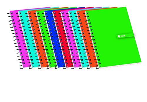 Cuadernos 16º(A7) Enri. Pack de 10 unidades. Tapa blanda. Cuadrícula 4x4. Colores aleatorios.