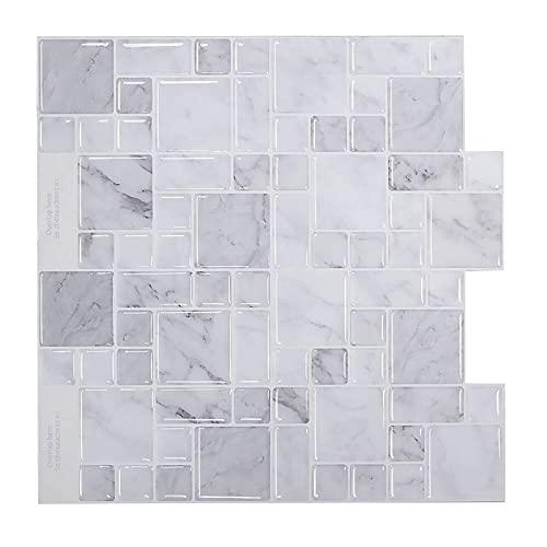 shjjyp Papel Pintado Autoadhesivo Muebles Mosaico Vinilo Decorativos Adhesivo para Azulejos Cocina Gris Blanco 12 In X12 In Vinilos para Baldosas Impermeable Papel Pintado Autoadhesivo BañO,B,5pcs