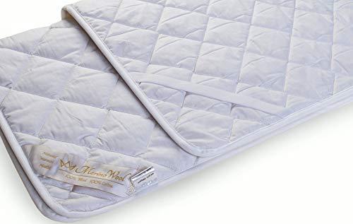 Merino Wool & Cotton COMFORT Omkeerbaar Matrastopper Warm & Omkeerbaar 100% Merino Wol & Katoen Onder deken, Alle seizoenen onder laken matrasbeschermer wieg onder deken. Voor baby, kind, peuter, kind. absorbeert natuurlijk vocht. Afmetingen dekbedovertrek: 60x120cm. Baby COT ONDER BLANKET