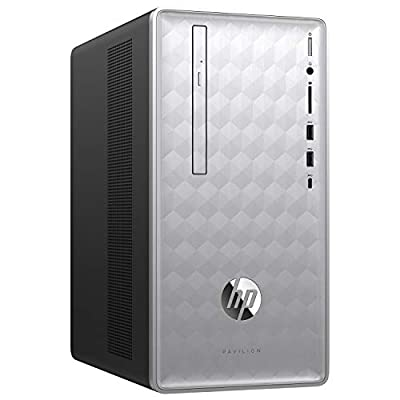 HP Pavilion 590-p0039 Desktop PC - AMD A12-9800 3.8GHz, 16GB, 1TB HDD, DVDRW, Bluetooth, USB Keyboard & Mouse, Windows 10 Home - Natural Silver (Renewed)