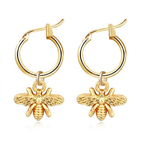 Pendientes de abeja diminutos con diseño de abeja de color dorado, para mujeres, aretes de insectos únicos
