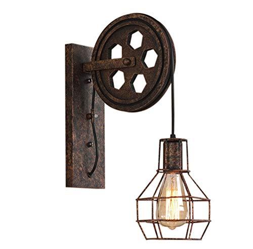 Lámpara de pared Estilo Vintage de Jaula de Hierro Aplique Creativo de Polea Industrial Diseño Rústico para Corredor Cocina Restaurante Hotel Bar (óxido)