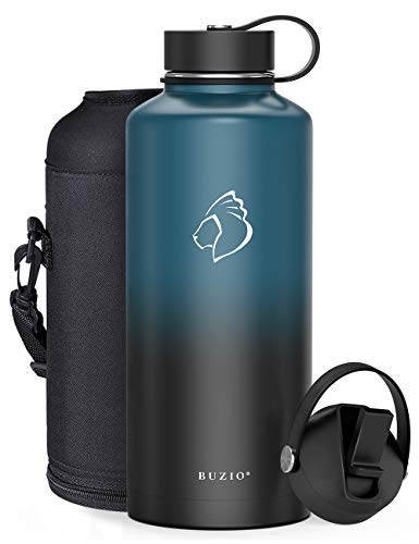 Half Gallon Stainless Steel Water Bottle with Straw Lid and Flex Cap, 87oz Modern Double Vacuum Stainless Steel Water Flask, Cold for 48 Hrs Hot for 24 Hrs Simple Thermo Canteen Mug,Indigo and Black