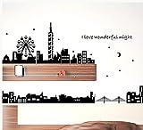 pegatinas de pared Arquitectura Mundial Negra Sala De Estar Dormitorio Área De Oficina Fondo Pared Autoadhesivo Moderna Simple Decoración De La Pared 01 Capital de la moda 245 * 43cm