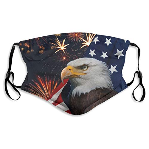 Balaclava Unisex Windproof Dust Face Decoration For Mountain Climbing And Daily Use, Bald Eagle American Flag Fireworks Pattern Custom Face Mask Made In Usa
