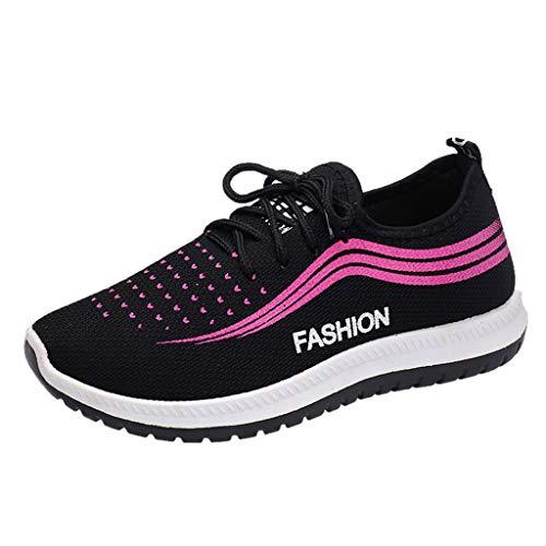 CANDLLY Schuhe Damen Sneaker, Leicht Atmungsaktive Schnürschuhe Sport Laufschuhe Frauen Mode Turnschuhe 1cm-3cm Freizeitschuhe Flache Mutter Schuhe(Schwarz,38 EU