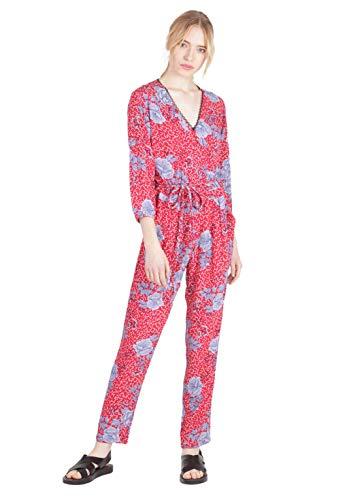 Kaporal - Combinaison Rouge imprimée Fleurie, Coupe Droite - Rima - Femme - XL - Rouge